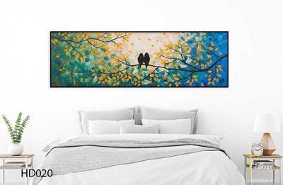 Tranh Đôi Chim Lá Mùa Thu Phòng Ngủ