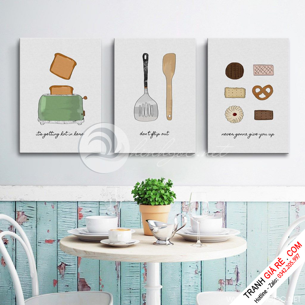 Tranh Cafe Treo Phòng Bếp 3 bức G1