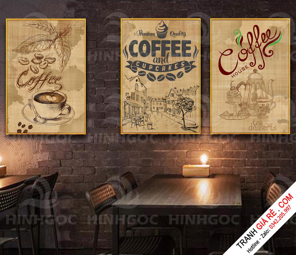 Tranh Cafe Treo Phòng Bếp 3 bức G10